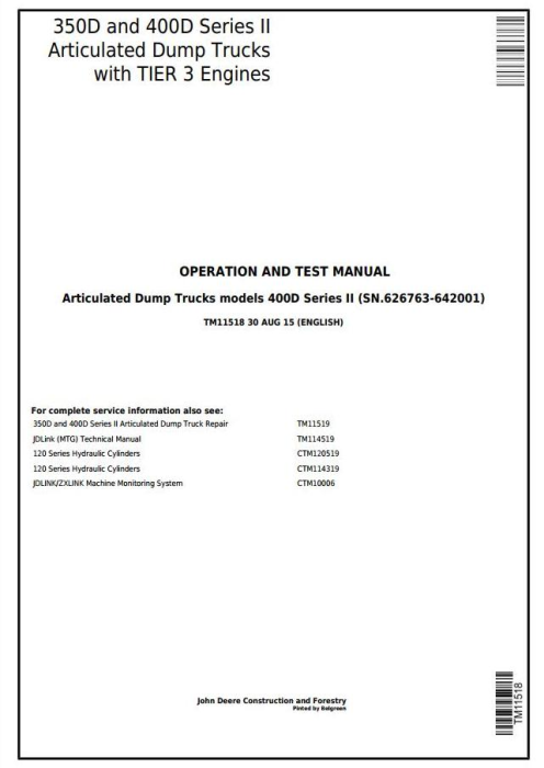 First Additional product image for - John Deere 350D,400D S2 Articulated Dump Truck (SN.626763-642001)Diagnostic Service Manual (TM11518)