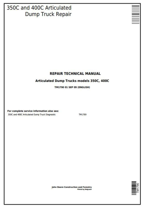 First Additional product image for - John Deere 350C and 400C Articulated Dump Truck Service Repair Technical Manual  (TM1790)