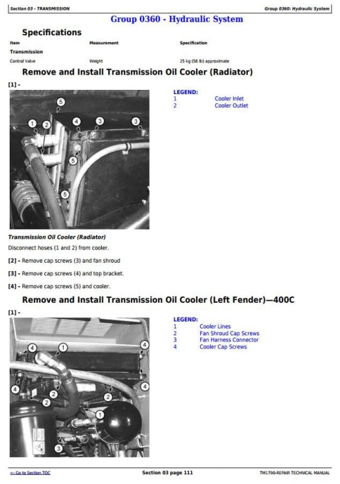 Fourth Additional product image for - John Deere 350C and 400C Articulated Dump Truck Service Repair Technical Manual  (TM1790)