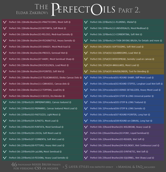 """First Additional product image for - The Perfect Oils. Part 2 • 46 Mixer Brush Presets for Photoshop + 5 """"Impasto"""" Layer Styles"""