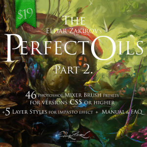 the perfect oils. part 2 • 46 mixer brush presets for photoshop + 5 impasto effect layer styles