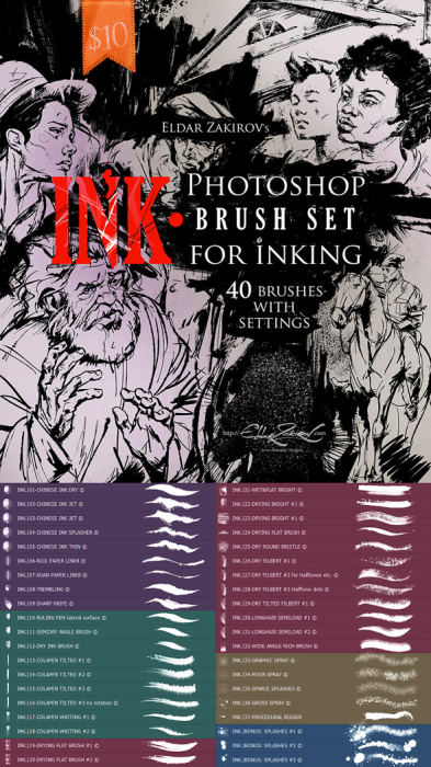 First Additional product image for - INK.• 40 Photoshop Brushes for Inking + Photoshop Action for 100% black