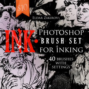 ink.• 40 photoshop brushes for inking + photoshop action for removing halftones
