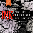 INK.• 40 Photoshop Brushes for Inking + Photoshop Action for Removing Halftones | Software | Add-Ons and Plug-ins