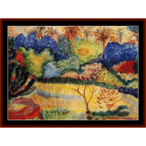 tahitian landscape - gauguin cross stitch pattern by cross stitch collectibles