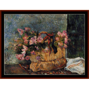 basket of flowers - gauguin cross stitch pattern by cross stitch collectibles