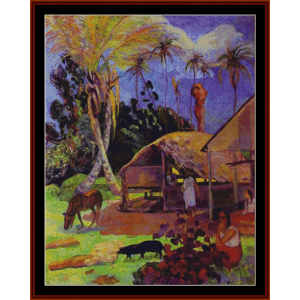 black pigs - gauguin cross stitch pattern by cross stitch collectibles