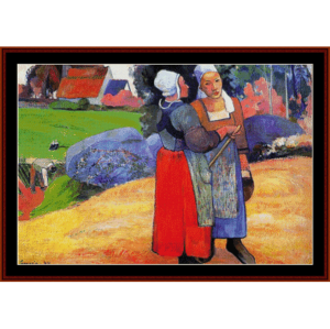 breton peasants - gauguin cross stitch pattern by cross stitch collectibles