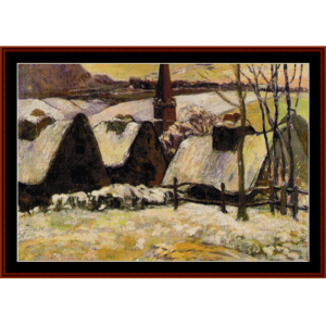 breton village in the snow - gauguin cross stitch pattern by cross stitch collectibles