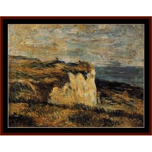 cliff near dieppe, 1885 - gauguin cross stitch pattern by cross stitch collectibles