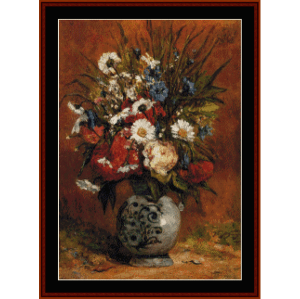 daisies & peonies in blue vase - gauguin cross stitch pattern by cross stitch collectibles