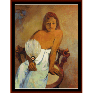 girl with a fan - gauguin cross stitch pattern by cross stitch collectibles