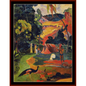 landscape with peacocks - gauguin cross stitch pattern by cross stitch collectibles