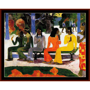 market day - gauguin cross stitch pattern by cross stitch collectibles