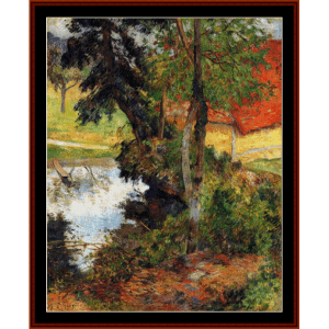 red roof by the water - gauguin cross stitch pattern by cross stitch collectibles