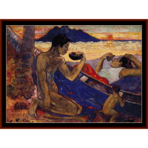 the canoe - gauguin cross stitch pattern by cross stitch collectibles