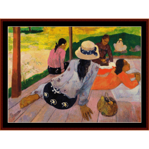 the siesta - gauguin cross stitch pattern by cross stitch collectibles
