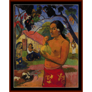 woman with a fruit - gauguin cross stitch pattern by cross stitch collectibles
