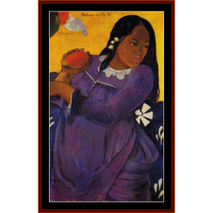 woman with a mango - gauguin cross stitch pattern by cross stitch collectibles