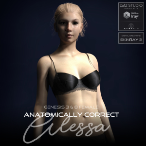 anatomically correct: alessa for genesis 3 and genesis 8 female