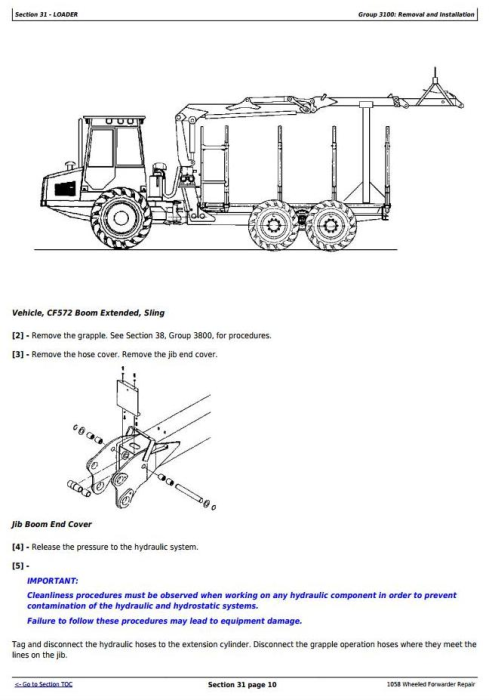 Fourth Additional product image for - John Deere 1010B, 1058 Wheeled Forwarder Service Repair Technical Manual (tm1943)