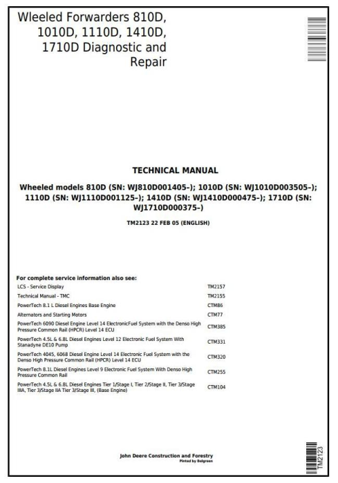 First Additional product image for - John Deere/TIMBERJACK 810D, 1010D, 1110D, 1410D, 1710D Wheeled Forwarder Technical Service Manual (tm2123)