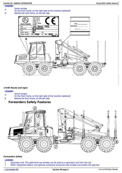 Second Additional product image for - John Deere/TIMBERJACK 810D, 1010D, 1110D, 1410D, 1710D Wheeled Forwarder Technical Service Manual (tm2123)
