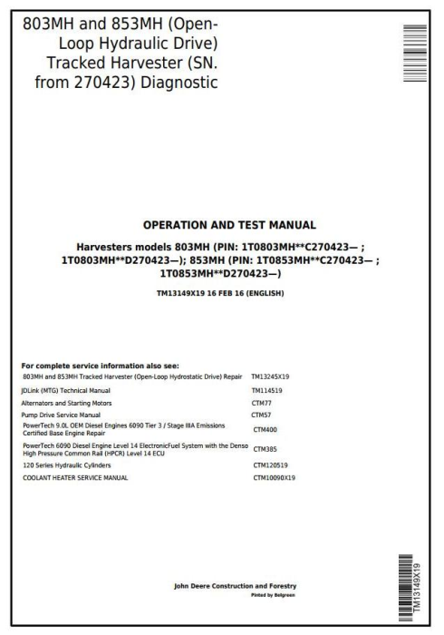 First Additional product image for - John Deere 803MH, 853MH (Open-Loop) Harvester(SN.from 270423) Diagnostic Service Manual (TM13149X19)