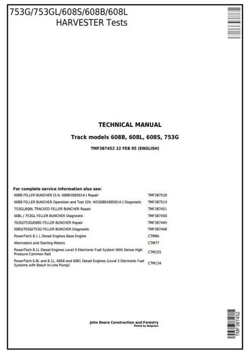 First Additional product image for - TIMBERJACK/John Deere 753G, 753GL, 608S, 608B, 608L Harvester/Feller Buncher Tests Manual(tmf387452)