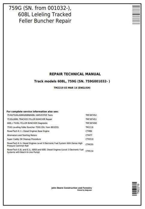 First Additional product image for - John Deere 759G (SN.001032-), 608L Tracked Feller Buncher (Harvester) Service Repair Manual (TM2219)