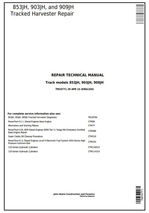 First Additional product image for - John Deere 853JH, 903JH, 909JH Tracked Feller Buncher/Harvester Service Repair Manual (TM10771)