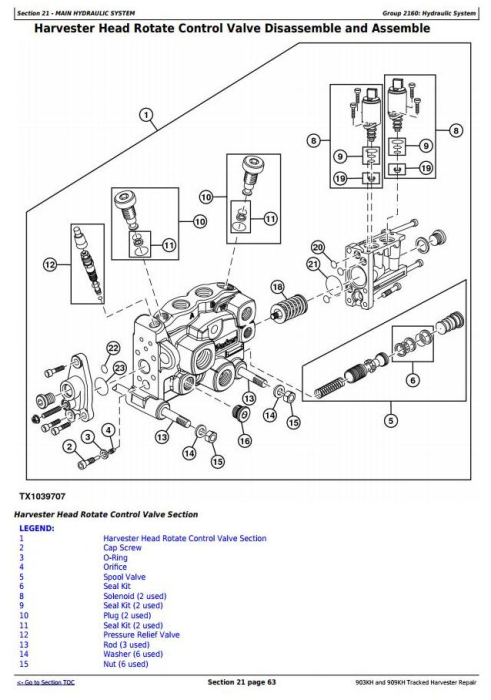 Fourth Additional product image for - John Deere 903KH and 909KH Tracked Harvester Service Repair Technical Manual (TM11626)