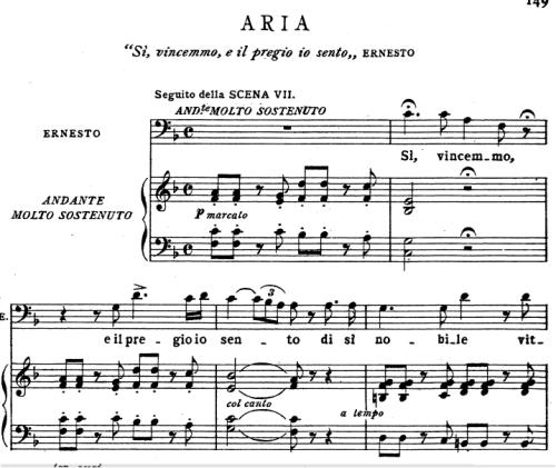 First Additional product image for - Si vincemmo: Aria for Bass (Ernesto). V. Bellini: Il Pirata, Act I Sc.3. Vocal Score, Ed. Ricordi (PD). Italian (A4)