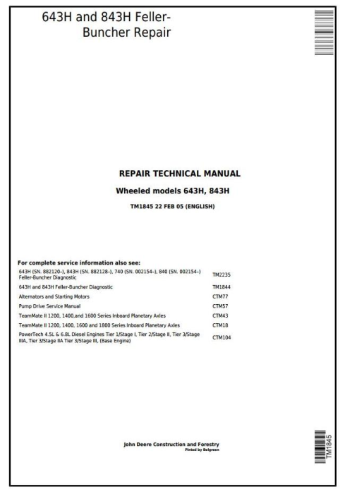 First Additional product image for - John Deere 643H and 843H Wheeled Feller Buncher Service Repair Technical Manual (tm1845)