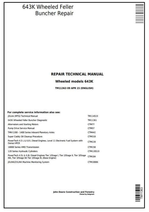 First Additional product image for - John Deere 643K Wheeled Harvester / Feller Buncher Service Repair Technical Manual (TM11363)