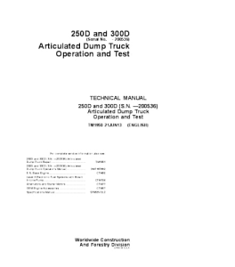 John Deere 250d 300d Articulated Dump Truck Operation And Test Service Technical Manual Tm1950 | eBooks | Automotive