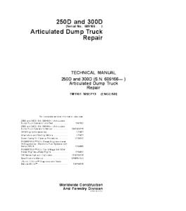 John Deere Articulated Dump Truck Repair Service Technical Manual Tm1161   eBooks   Automotive
