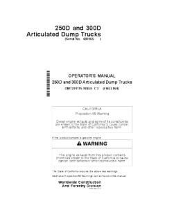 John Deere 250d 300d Operators Manual Articulated Dump Truck Omt224115 | eBooks | Automotive