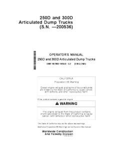 John Deere250d 300d Operators Manual  Articulated Dump Truck Omt187892 | eBooks | Automotive