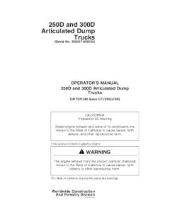 John Deere Operators Manual 250d 300d Articulated Dump Truck Omt201340 | eBooks | Automotive