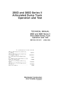 John Deere 250d 300d Articulated Dump Truck Operation And Test Service Technical Manual Series 2 Tm11516 | eBooks | Automotive