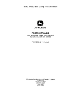 John Deere 250d Series 2 Catalog Manual Articulated Dump Truck Parts Pc10130 | eBooks | Automotive