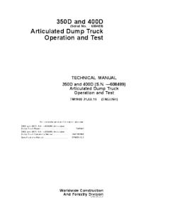 John Deere 350d 400d Articulated Dump Truck Operation And Test Service Technical Manual Tm1940 | eBooks | Automotive