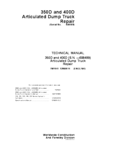 John Deere 350d 400d Articulated Dump Truck Repair Service Technical Manual Tm1941 | eBooks | Automotive