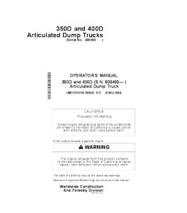 John Deere 350d 400d Operators Manual Articulated Dump Truck Omt224118 | eBooks | Automotive