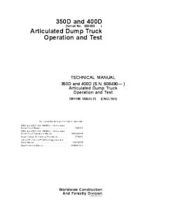 John Deere 350d 400d Service Technical Manual Articulated Dump Truck Operation And Test Tm1198 | eBooks | Automotive