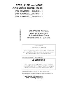 John Deere 370e 410e 460e Operators Manual Articulated Dump Truck Omt284806 | eBooks | Automotive