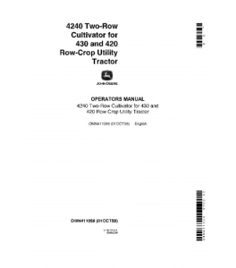 John Deere 4240 Operators Manual Two-Row Cultivator For 430 420 Row-Crop Utility Tractor Omn411058 | eBooks | Automotive