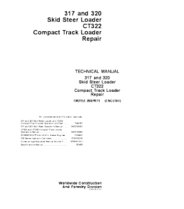 John Deere 317 320 Ct322 Skid Steer Loader Compact Track Loader Repair Service Technical Manual Tm2152 | eBooks | Automotive