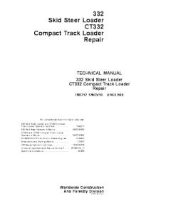 john deere 332 skid steer loader service technical manual compact track loader (ct332) tm2212